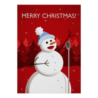 happy singing snowman merry christmas poster-r2532b7c293d644178a09339ed0d7e63e ao7tf 8byvr 324